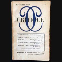 1. Critique n°91 Revue générale des publications françaises et étrangères Décembre 1954