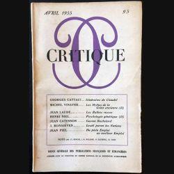 1. Critique n°95 Revue générale des publications françaises et étrangères Avril 1955