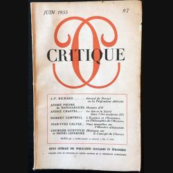 1. Critique n°97 Revue générale des publications françaises et étrangères Juin 1955