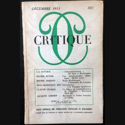 1. Critique n°103 Revue générale des publications françaises et étrangères Décembre 1955 aux éditions de Minuit