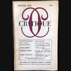1. Critique n°104 Revue générale des publications françaises et étrangères Janvier 1956 aux éditions de Minuit