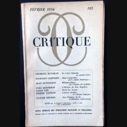 1. Critique n°105 Revue générale des publications françaises et étrangères Février 1956 aux éditions de Minuit