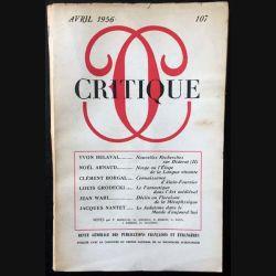 1. Critique n°107 Revue générale des publications françaises et étrangères Avril 1956 aux éditions de Minuit