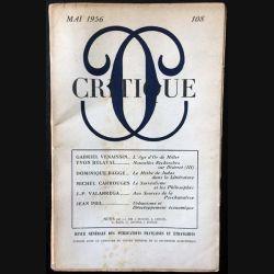 1. Critique n°108 Revue générale des publications françaises et étrangères Mai 1956 aux éditions de Minuit