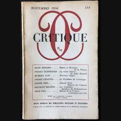 1. Critique n°114 Revue générale des publications françaises et étrangères Novembre 1956 aux éditions de Minuit