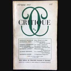 1. Critique n°117 Revue générale des publications françaises et étrangères Février 1957 aux éditions de Minuit (C45)