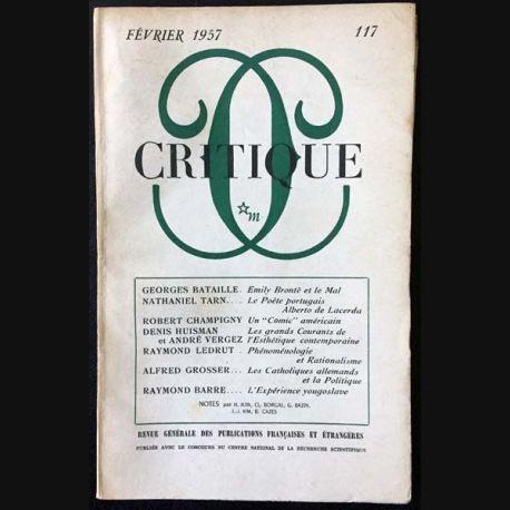 1. Critique n°117 Revue générale des publications françaises et étrangères Février 1957 aux éditions de Minuit
