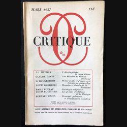 1. Critique n°118 Revue générale des publications françaises et étrangères Mars 1957 aux éditions de Minuit