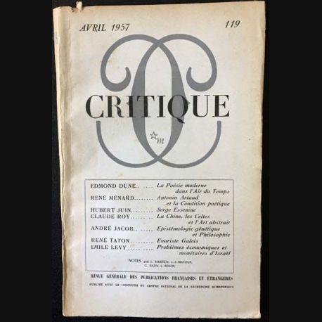 1. Critique n°119 Revue générale des publications françaises et étrangères Avril 1957 aux éditions de Minuit