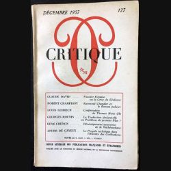 1. Critique n°127 Revue générale des publications françaises et étrangères Décembre 1957 aux éditions de Minuit