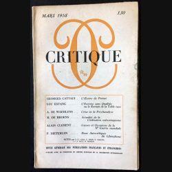 1. Critique n°130 Revue générale des publications françaises et étrangères Mars 1958 aux éditions de Minuit