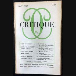 1. Critique n°132 Revue générale des publications françaises et étrangères Mai 1958 aux éditions de Minuit