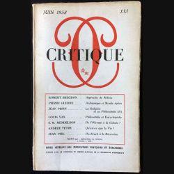 1. Critique n°133 Revue générale des publications françaises et étrangères Juin 1958 aux éditions de Minuit