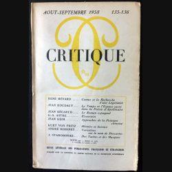 1. Critique n°135-136 Revue générale des publications françaises et étrangères Aout-Septembre 1958