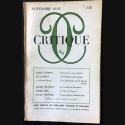 1. Critique n°138 Revue générale des publications françaises et étrangères Novembre 1958 aux éditions de Minuit