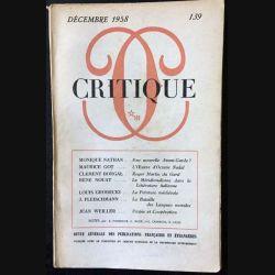 1. Critique n°139 Revue générale des publications françaises et étrangères Décembre 1958 aux éditions de Minuit