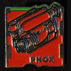 PIN'S PHOX : caméra rouge de hauteur 2 cm