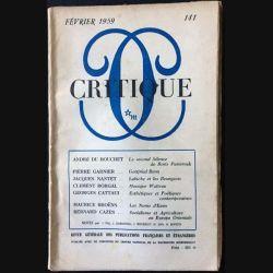 1. Critique n°141 Revue générale des publications françaises et étrangères Février 1959 aux éditions de Minuit