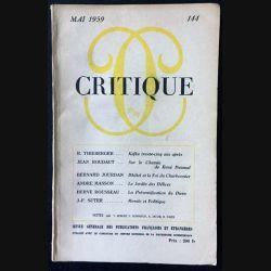 1. Critique n°144 Revue générale des publications françaises et étrangères Mai 1959 aux éditions de Minuit