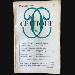 1. Critique n°149 Revue générale des publications françaises et étrangères Octobre 1959 aux éditions de Minuit