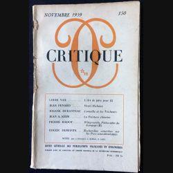 1. Critique n°150 Revue générale des publications françaises et étrangères Novembre 1959 aux éditions de Minuit