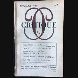 1. Critique n°151 Revue générale des publications françaises et étrangères Décembre 1959 aux éditions de Minuit