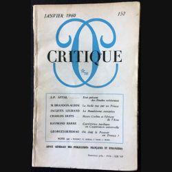 1. Critique n°152 Revue générale des publications françaises et étrangères Janvier 1960 aux éditions de Minuit