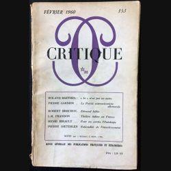 1. Critique n°153 Revue générale des publications françaises et étrangères Février 1960 aux éditions de Minuit