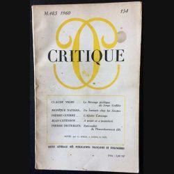 1. Critique n°154 Revue générale des publications françaises et étrangères Mars 1960 aux éditions de Minuit