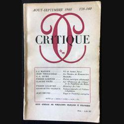 1. Critique n°159-160 Revue générale des publications françaises et étrangères Aout-Septembre 1960