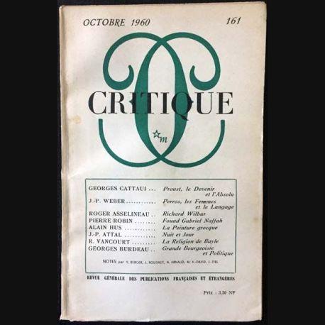 1. Critique n°161 Revue générale des publications françaises et étrangères Octobre 1960 aux éditions de Minuit