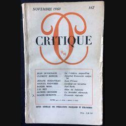 1. Critique n°162 Revue générale des publications françaises et étrangères Novembre 1960 aux éditions de Minuit