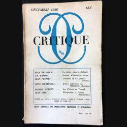 1. Critique n°163 Revue générale des publications françaises et étrangères Décembre 1960 aux éditions de Minuit