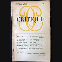 1. Critique n°165 Revue générale des publications françaises et étrangères Février 1961 aux éditions de Minuit (C45)