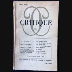 1. Critique n°168 Revue générale des publications françaises et étrangères Mai 1961 aux éditions de Minuit