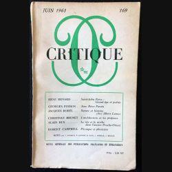 1. Critique n°169 Revue générale des publications françaises et étrangères Juin 1961 aux éditions de Minuit