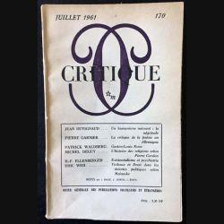 1. Critique n°170 Revue générale des publications françaises et étrangères Juillet 1961 aux éditions de Minuit