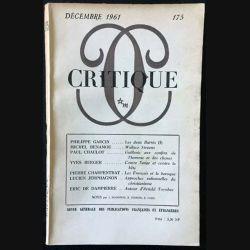 1. Critique n°175 Revue générale des publications françaises et étrangères Décembre 1961 aux éditions de Minuit
