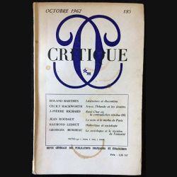 1. Critique n°185 Revue générale des publications françaises et étrangères Octobre 1962 aux éditions de Minuit