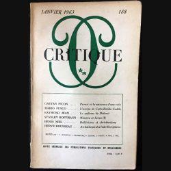 1. Critique n°188 Revue générale des publications françaises et étrangères Janvier 1963 aux éditions de Minuit