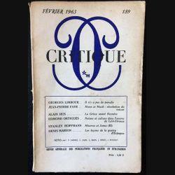 1. Critique n°189 Revue générale des publications françaises et étrangères Février 1963 aux éditions de Minuit