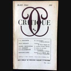 1. Critique n°190 Revue générale des publications françaises et étrangères Mars 1963 aux éditions de Minuit