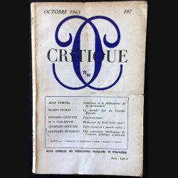 1. Critique n°197 Revue générale des publications françaises et étrangères Octobre 1963 aux éditions de Minuit