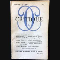 1. Critique n°198 Revue générale des publications françaises et étrangères Novembre 1963 aux éditions de Minuit