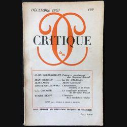 1. Critique n°199 Revue générale des publications françaises et étrangères Décembre 1963 aux éditions de Minuit