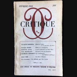 1. Critique n°201 Revue générale des publications françaises et étrangères Février 1964 aux éditions de Minuit