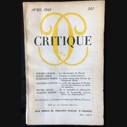 1. Critique n°203 Revue générale des publications françaises et étrangères Avril 1964 aux éditions de Minuit