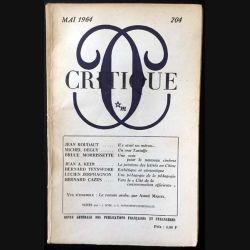 1. Critique n°204 Revue générale des publications françaises et étrangères Mai 1964 aux éditions de Minuit