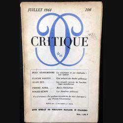 1. Critique n°206 Revue générale des publications françaises et étrangères Juillet 1964 aux éditions de Minuit