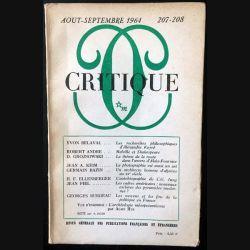 1. Critique n°207-208 Revue générale des publications françaises et étrangères Aout-Septembre 1964